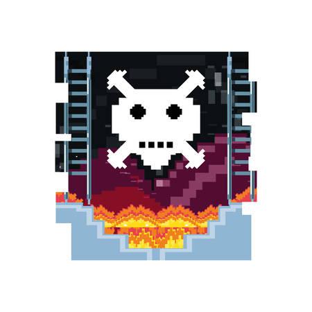 video game danger skull with stage scene pixelated vector illustration design