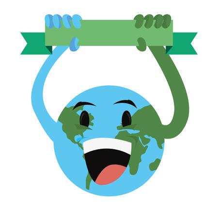 cartoon world planet happy earth day vector illustration Stock Illustratie