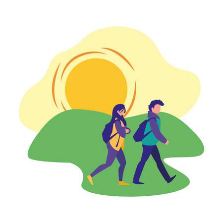 people walking park activity scene vector illustration