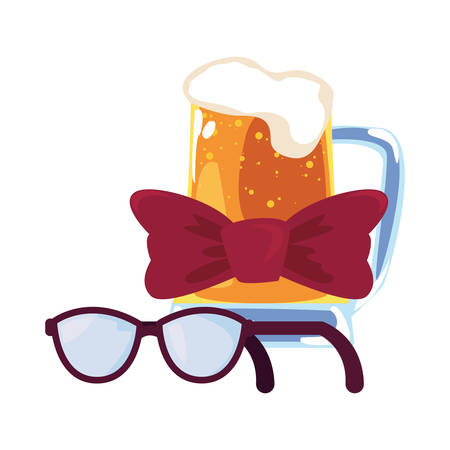 beer eyeglasses bow tie happy fathers day vector illustration  イラスト・ベクター素材