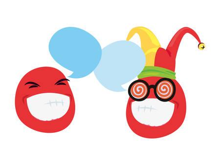 emoji face jester hat april fools day vector illustration