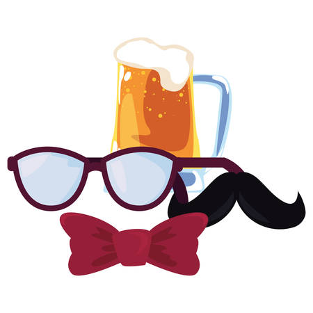 beer eyeglasses mustache bow tie happy fathers day vector illustration