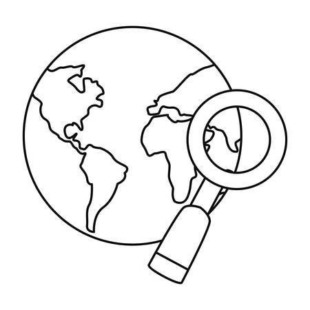 world map and magnifying glass vector illustration