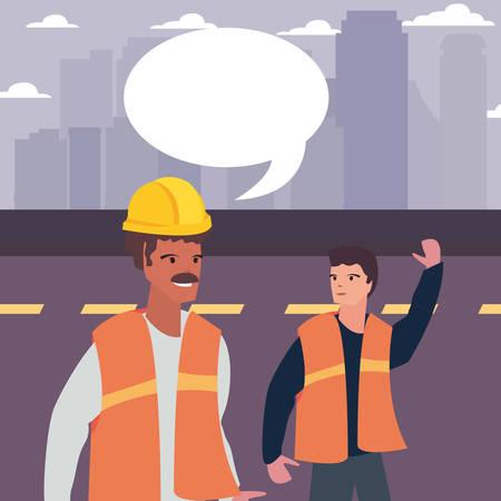 men builders talk labour day vector illustration
