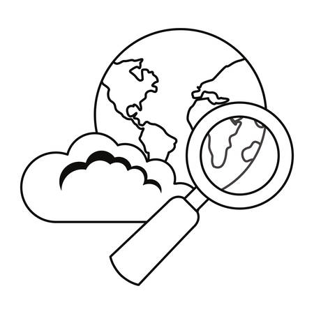 world cloud computing magnifier cybersecurity data protection vector illustration outline