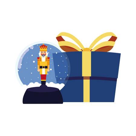 christmas nutcracker snow globe and gift vector illustration Stock fotó - 129508599