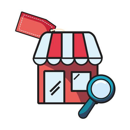 online shopping market magnifying glass tag vector illustration