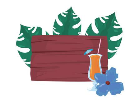 summer time holiday cocktail flower leaves wooden board vector illustration