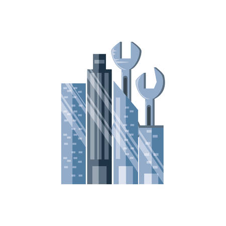 wrenches tools with cityscape vector illustration design Stock Illustratie
