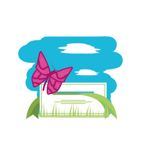 tag with beautiful butterfly isolated icon vector illustration design