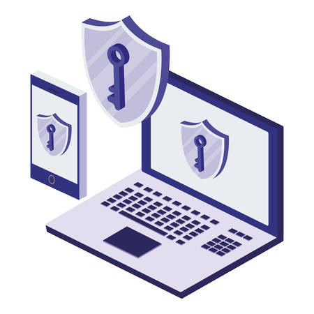 laptop computer with security shield vector illustration design Archivio Fotografico - 129589241