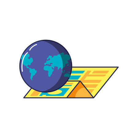 map guide location with planet earth vector illustration design