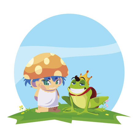 toad prince and fungu elf in garden vector illustration design 写真素材 - 129570720