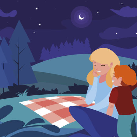 beautiful mother with son in the landscape picnic day vector illustration design Banque d'images - 129370703