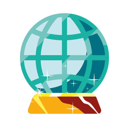 globe connection gold bar fortune vector illustration