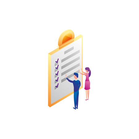 business couple workers with checklist document vector illustration design