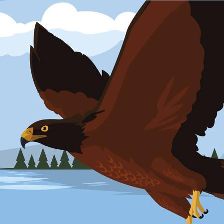beautiful eagle in the lake majestic bird vector illustration design Illusztráció