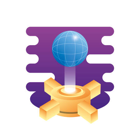 hosting data server with planet vector illustration design