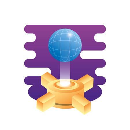 hosting data server with planet vector illustration design 写真素材 - 129328748