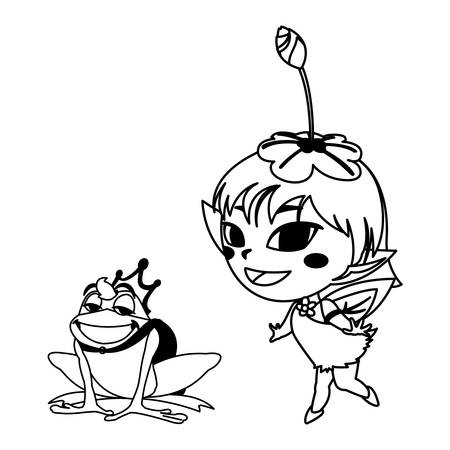 beautiful magic fairy with toad prince characters vector illustration design Foto de archivo - 129326888