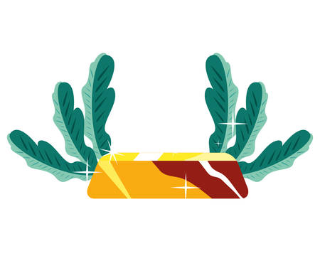 gold bar leaves on white background vector illustration Иллюстрация