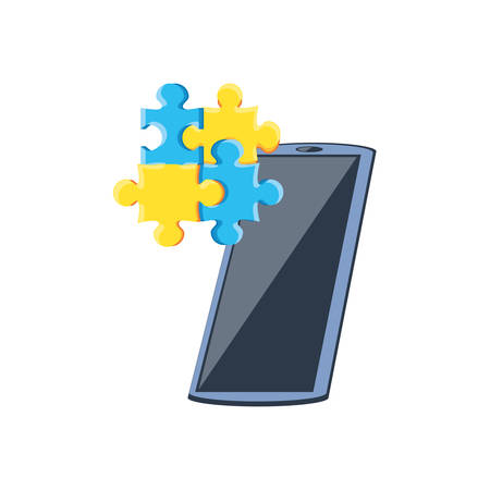 smartphone with puzzle pieces isolated icon vector illustration design