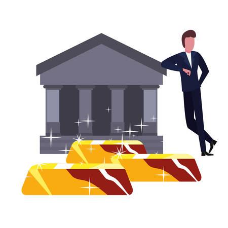 businessman money bank gold bars vector illustration Stock Vector - 129329057