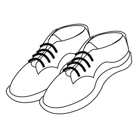 men shoes footwear elegance on white background vector illustration Çizim