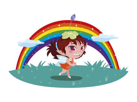 beautiful magic fairy in rainbow character vector illustration design Foto de archivo - 129329059