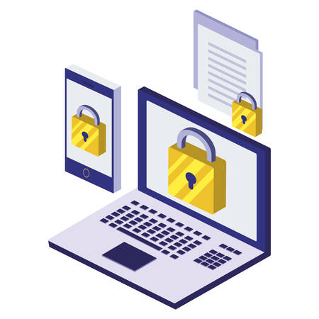 laptop computer with padlock and documents vector illustration design Çizim