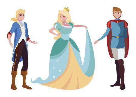 princes charming and princess of tales characters vector illustration design Ilustração