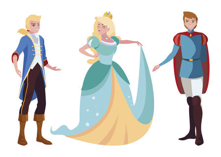 princes charming and princess of tales characters vector illustration design Illustration
