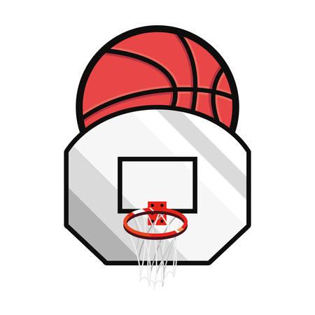 basketball sport ball basket white background vector illustration Çizim