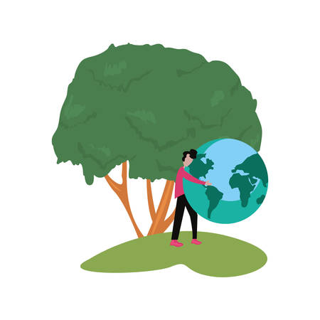 man with world tree happy earth day vector illustration