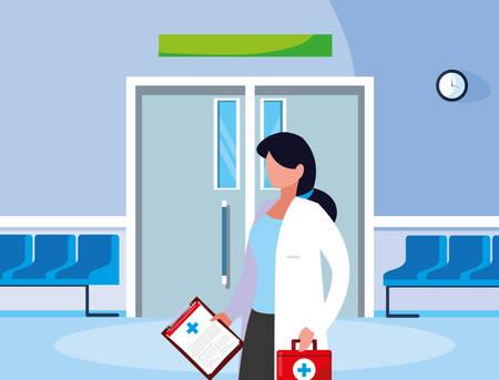 female medicine worker in the operating room entrance vector illustration design Illustration