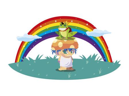 toad prince and fungu elf with rainbow vector illustration design 일러스트