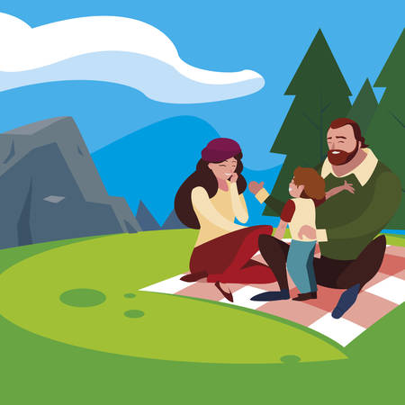 parents couple with son in the field picnic day vector illustration design Banque d'images - 129373457