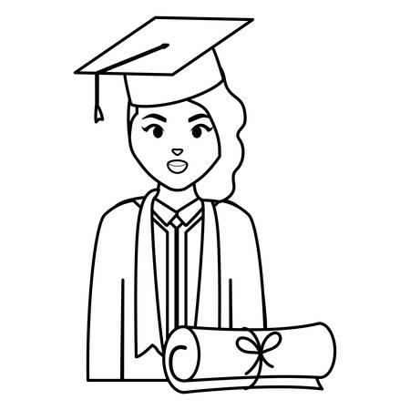 young student graduated girl with diploma vector illustration design