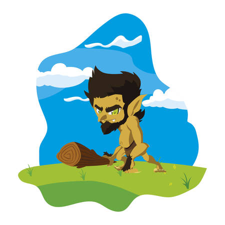 caveman gnome in the camp magic character vector illustration design Ilustração