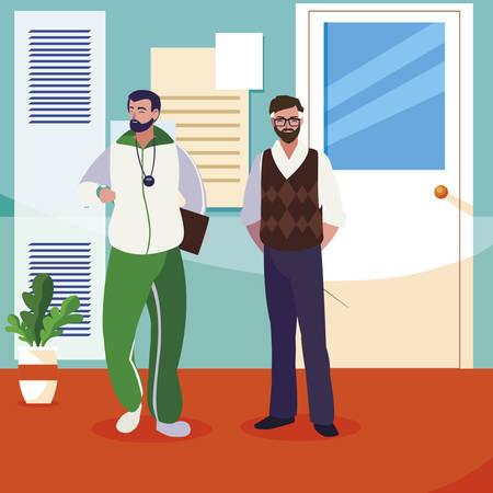teachers classic and sports in school corridor vector illustration design 스톡 콘텐츠 - 129338177