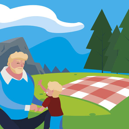 father with son in the field picnic day vector illustration design Banque d'images - 129373579