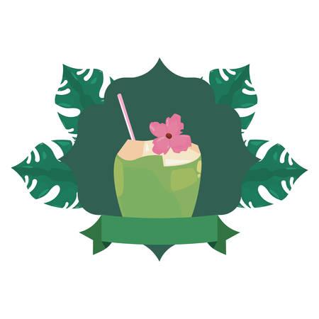 summer time holiday coconut badge tropical leaves vector illustration Standard-Bild - 129373582
