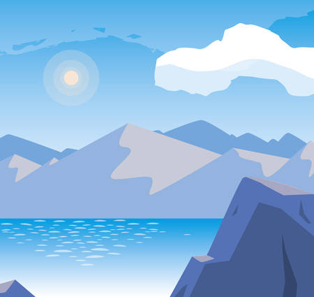 lake and mountains scene vector illustration design Иллюстрация