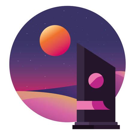 futuristic building modern sunset landscape vector illustration Illusztráció