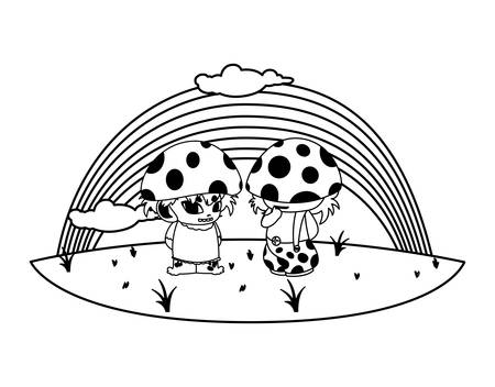 fungus elfs with rainbow magic characters vector illustration design