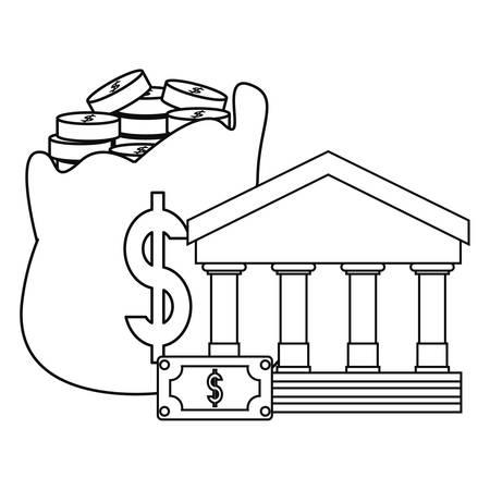 bank money bag business savings vector illustration Ilustracja