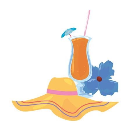 summer time holiday glass cup cocktail hat and flower vector illustration