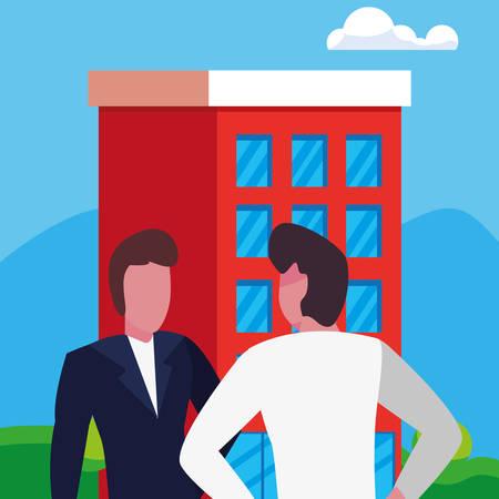 businessmen city building urban background vector illustration Illusztráció