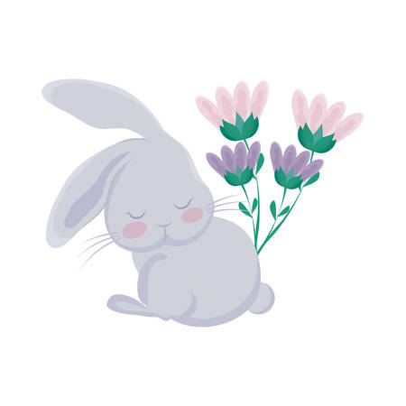 cute rabbit with flowers decorated vector illustration design Ilustrace