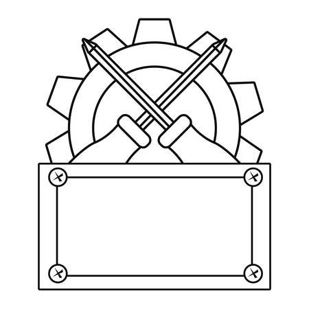 screwdriver gear construction board tool vector illustration design